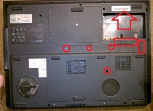 Как разобрать ноутбук Acer Aspire 9920 для того, чтобы его почистить от пыли и заменить на нём термопасту.